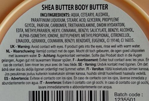 Sence Body Butter ingrediënten