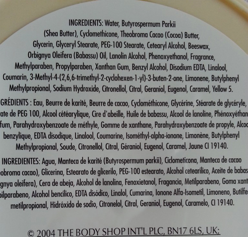 The Body Shop ingrediënten