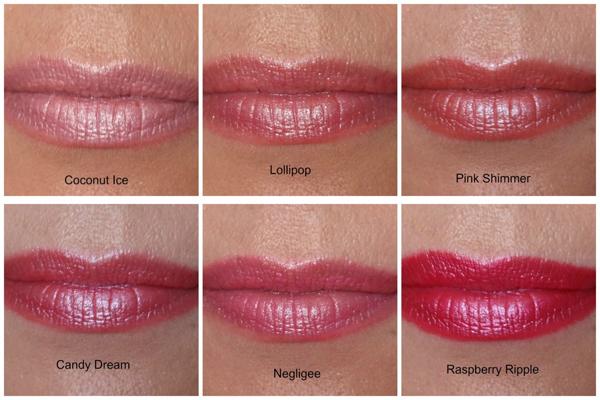 W7 Fashion lipsticks pinks swatches